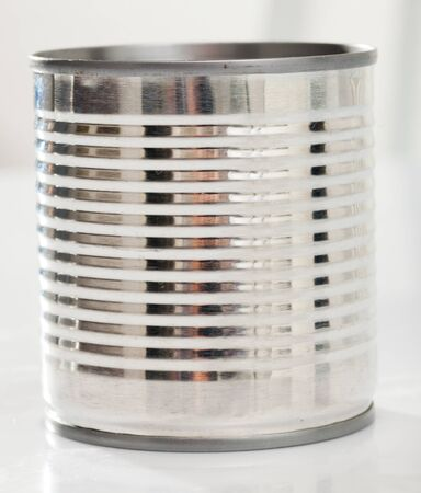 View of closed silver tin can for food