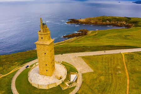 Tower of Hercules (Torre de Hercules) lighthouse located in the city of La Coruna. Galicia, Spain