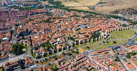 General aerial view of Spanish fortified city of Avila in sunny summer day
