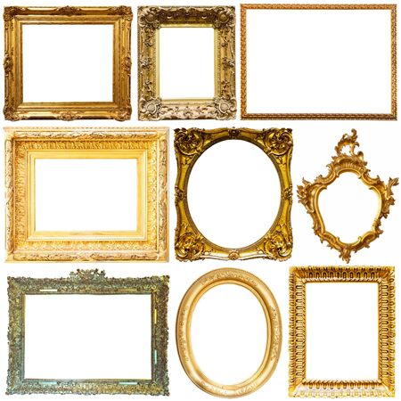Collection of luxury gold picture frames isolated on white background 免版税图像