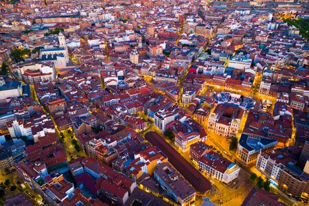 Panoramic view from the drone on the Valladolid at twilight. Spain