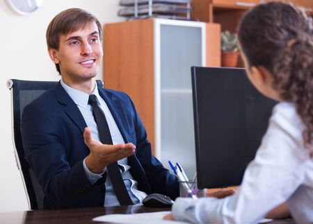 Potential employee having job interview with successful manager Reklamní fotografie