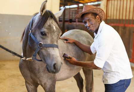 Cheerful mature African man caring for horse with electric trimmer at stable