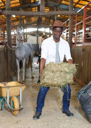 Couple of farmers afro man and Caucasian woman working at stable Banco de Imagens