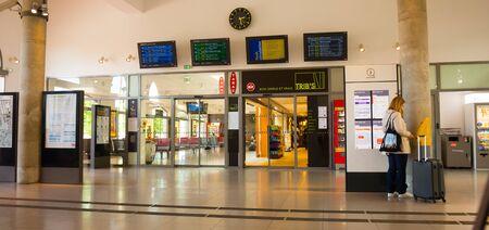 PERPIGNAN, FRANCE - MAY 11, 2017: Modern interior of railway station Perpignan -