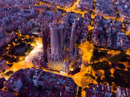 Barcelona, Spain - June 13, 2019: View from dorne of the famous Spanish landmark - temple Sagrada familia Editorial