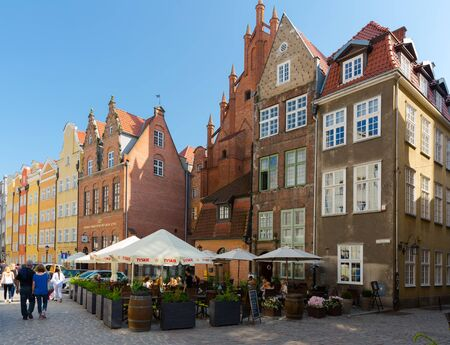 GDANSK, POLAND - MAY 12, 2018: View of pedestrian thoroughfare of Long Market with scenic apartment buildings