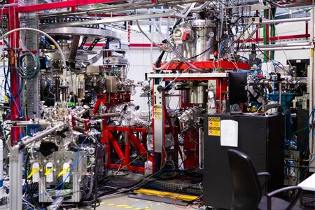 CERDANYOLA DEL VALLES, SPAIN - JUNE 29, 2019: View of experimental stations of BOREAS beamline in ALBA research laboratory