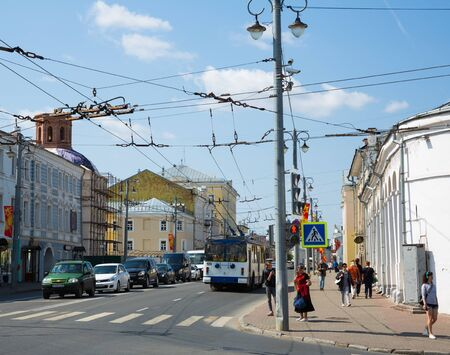 Vladimir, Russia - May 07, 2019: Central streets of the city of Vladimir May day. Russian Federation