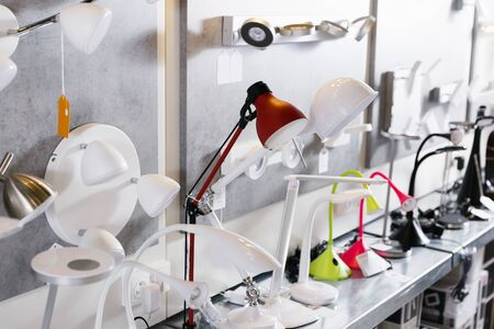 Picture of various desk  lamp  in the  designer furniture store Stockfoto