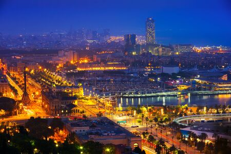 View to Barcelona and Mediterranean in night. Catalonia, Spain