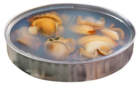 Open tin can with sea clams in its own juice. Isolated over white background 写真素材