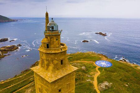 Faro della Torre di Ercole (Torre de Hercules) situato nella città di La Coruna. Galizia, Spagna