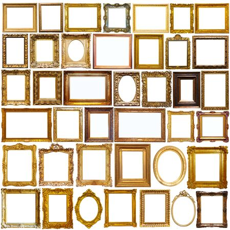 Collage of vintage photo and picture frames isolated on white Banco de Imagens