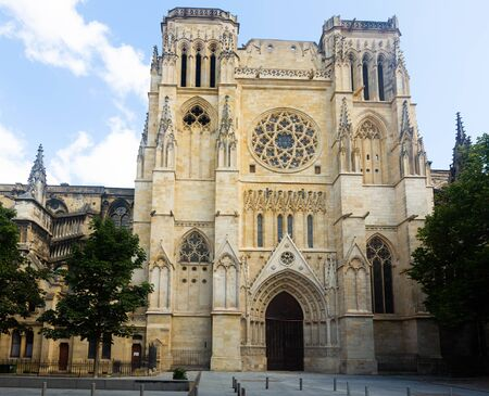 Summer view of building of Bordeaux Cathedral, Roman Catholic church in French city Bordeaux Stok Fotoğraf