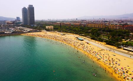 Panoramic view from the drone of coastline and beach of Barcelona. Spain