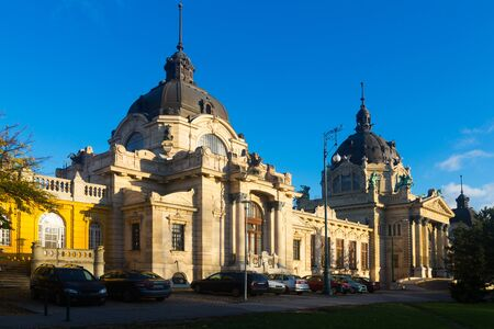 Cityscape of Budapest with building of Szechenyi thermal bath in sunny autumn day