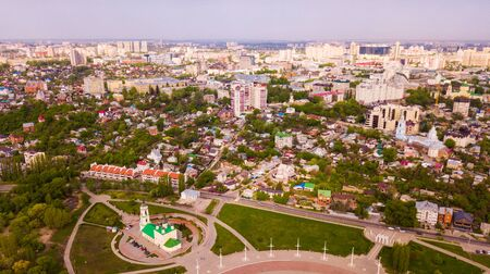 View from drone of Voronezh cityscape overlooking Admiralty square and Assumption Church, Russia