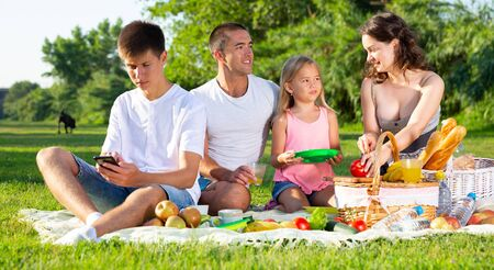 Teenager absorbed of social networks in his phone during family picnic on green lawn in summer city park