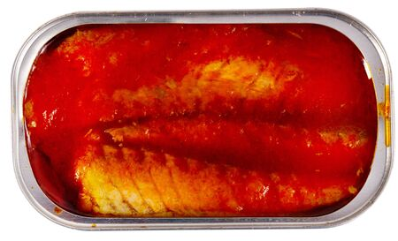 Open can of mackerel fillets in tomato sauce. Isolated over white background