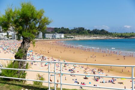 Hotels and sand beach of resort city Santander, Cantabria in Spain
