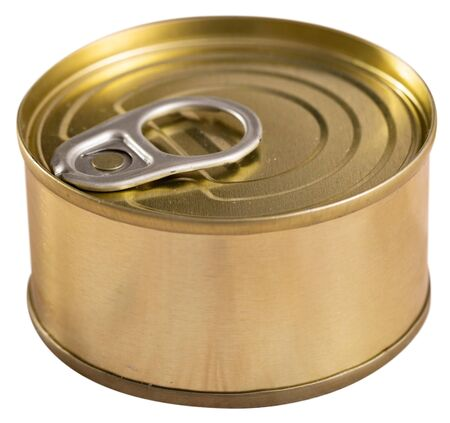Unlabeled golden tin can. Isolated over white background Banco de Imagens