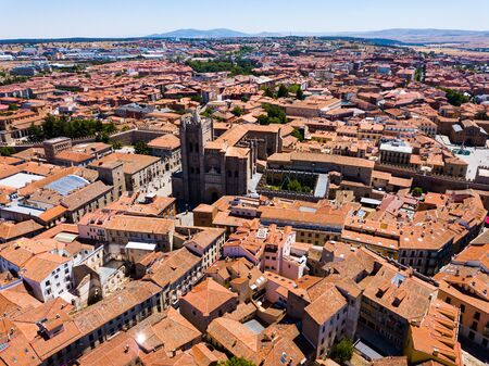 Panoramic top view of historical center of ancient town Avila, Spain
