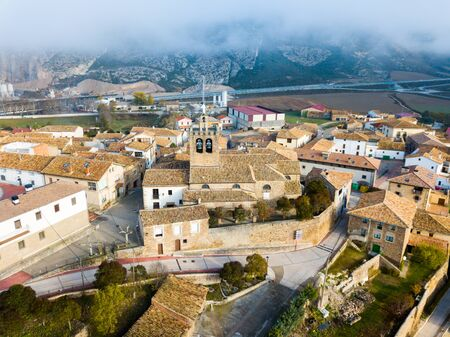 Smallish Spanish city of Liedena as seen from drone in autumn day, Navarre