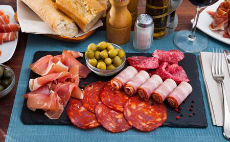 Assorted different types of spanish sausages Banco de Imagens