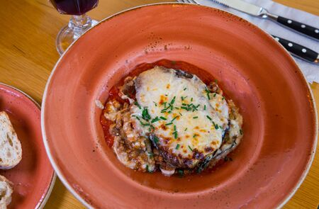 Tasty aubergine bake with ground meat and cheese, moussaka