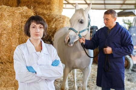 Portrait of positive female vet in uniform in horse stable
