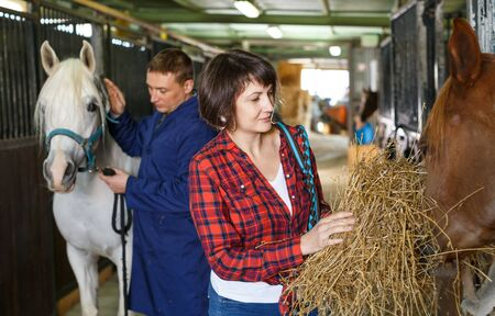 Female farm worker spreading armfuls of hay at horse stable