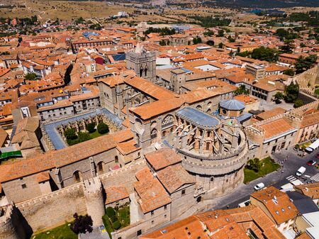 Panoramic top view of historical center of ancient town Avila, Spain Stock Photo