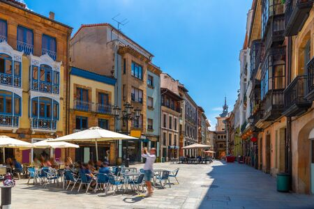 View of Oviedo streets in historical center, town in Spain