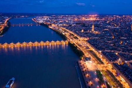 Night view from the drone on the Bordeaux. France Banque d'images