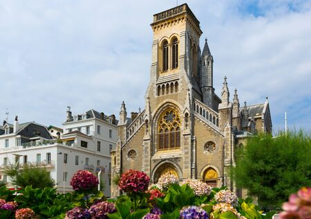 Picturesque view of  Eglise Sainte-Eugenie, church in French city Biarritz 免版税图像