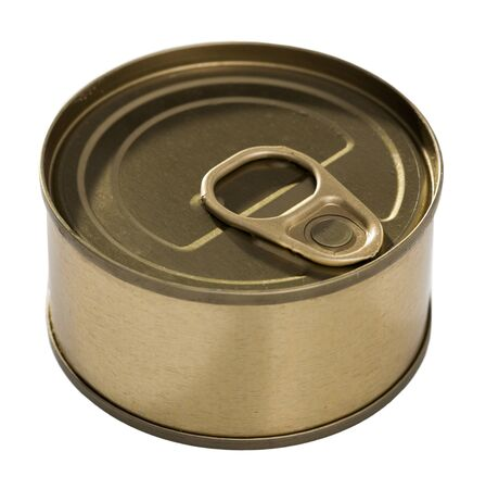 Bronze in can with ring pull, top view of packaging collection, nobody. Isolated over white background 写真素材