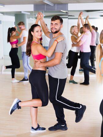 Nice dancing pair dance  together  in studio