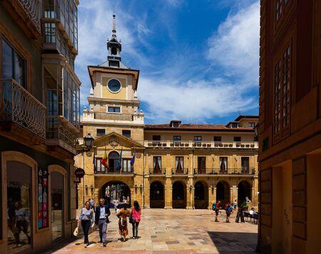 OVIEDO, SPAIN - JULY 15, 2019: View of Oviedo Town Hall on central Plaza de la Constitucion on sunny summer day Redakční