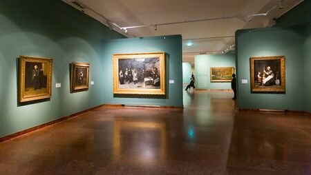 BUDAPEST, HUNGARY - OCTOBER, 29, 2017: Exposition in the Hungarian National Gallery (MNG), in the Buda Fortress. Budapest, Hungary 에디토리얼