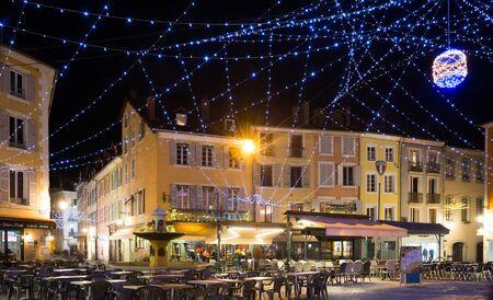 GAP, FRANCE - JANUARY 05, 2019: Nightlife of illuminated central Gap streets in winter, France
