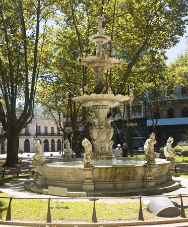 View on fountain at cathedral square in capital city of Montevideo in Uruguay