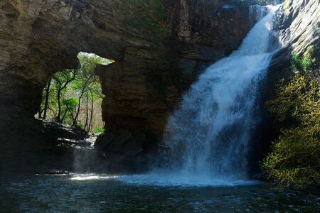 Pure mountain waterfall Cantonigros with clear water attractive place in Spain