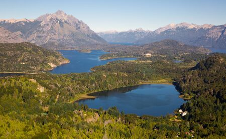 View of mountain Campanario and lakes on sunny day, National Park Nahuel Huapi. San Carlos de Bariloche, Argentina, Patagonia