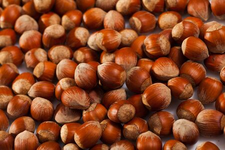 Natural background of unshelled raw hazelnuts. Healthy and nutritious snack Banque d'images