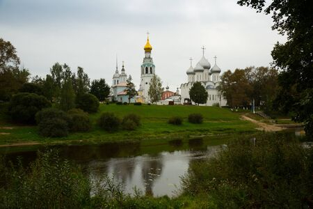 Summer view from Volga river of Kremlin (Cathedral) Square, Vologda Stok Fotoğraf