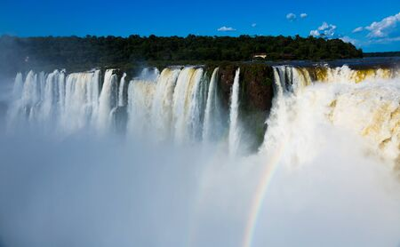 General viewing of the impressive Iguazu Falls system in Argentina Stok Fotoğraf