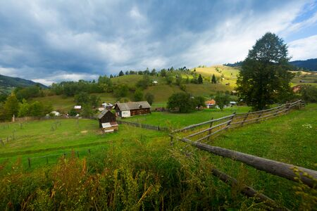 Old Sadova village is in Karpaty in Romania. Stockfoto