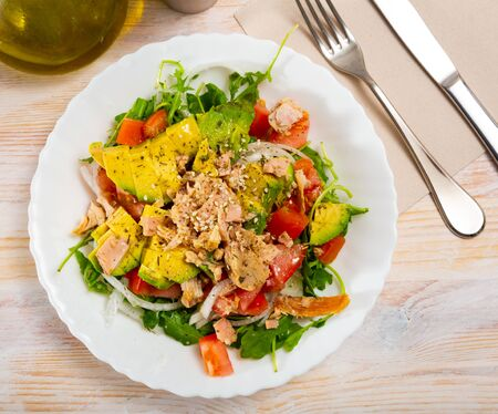 Appetizing fish salad with canned tuna