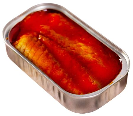 Canned sea fish, mackerel fillets in tomato. Isolated over white background 版權商用圖片
